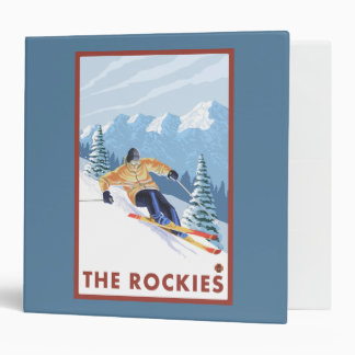 Downhhill Snow Skier - The Rockies 3 Ring Binder