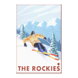 Downhhill Snow Skier - The Rockies Canvas Print