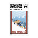Downhhill Snow Skier - The Rockies Postage Stamps
