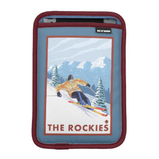 Downhhill Snow Skier - The Rockies Sleeve For iPad Mini