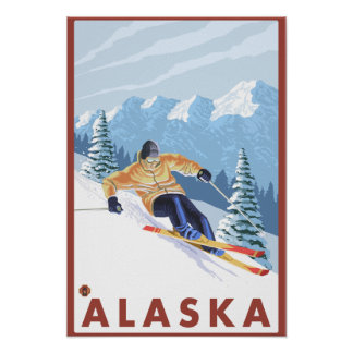 Downhhill Snow Skier- Vintage Travel Poster