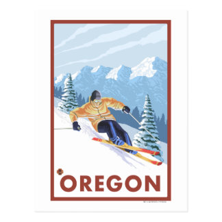 Downhhill Snow Skier- Vintage Travel Poster 2 Postcards