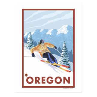 Downhhill Snow Skier- Vintage Travel Poster 2 Postcard