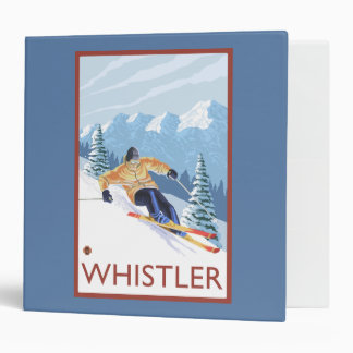 Downhhill Snow Skier - Whistler, BC Canada 3 Ring Binder
