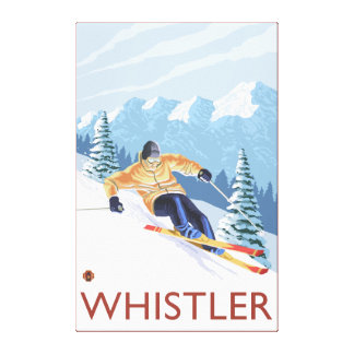 Downhhill Snow Skier - Whistler, BC Canada Canvas Print