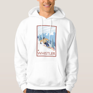 Downhhill Snow Skier - Whistler, BC Canada Hooded Sweatshirt