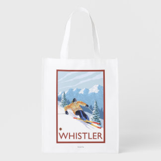 Downhhill Snow Skier - Whistler, BC Canada Reusable Grocery Bag