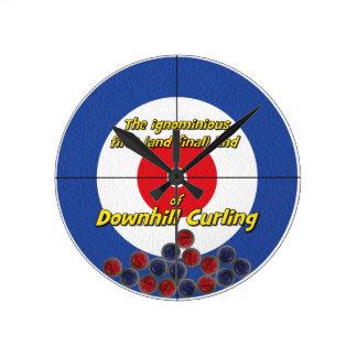 Downhill Curling Fail - (Blue) Round Clock