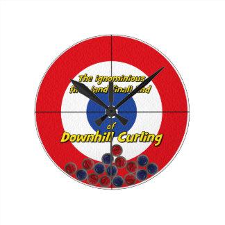 Downhill Curling Fail - (Red) Wall Clocks