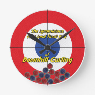 Downhill Curling Fail - (Red) Round Clock