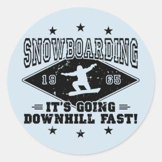 DOWNHILL FAST! (blk) Classic Round Sticker
