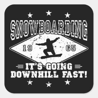 DOWNHILL FAST! (wht) Square Sticker