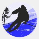 Downhill on the Ski Slope Classic Round Sticker
