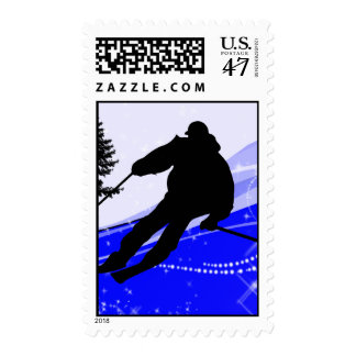 Downhill on the Ski Slope Edges Postage Stamp