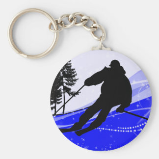 Downhill on the Ski Slope Keychain