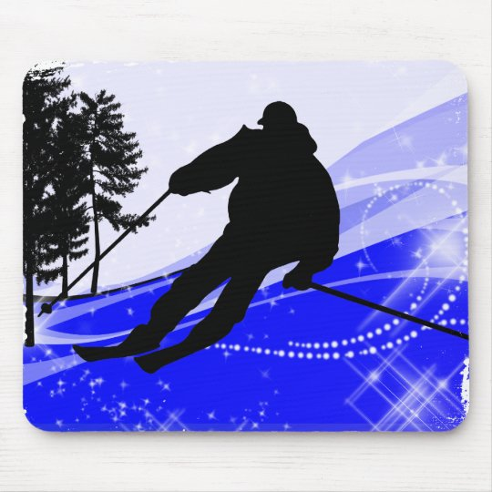 Downhill on the Ski Slope Mouse Pad