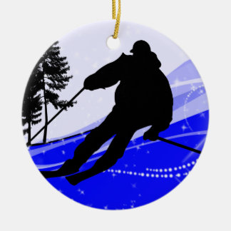 Downhill on the Ski Slope Double-Sided Ceramic Round Christmas Ornament