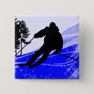 Downhill on the Ski Slope Pinback Button