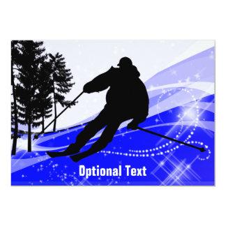 Downhill on the Ski Slopes - Customizable Card