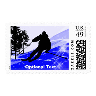 Downhill on the Ski Slopes - Customizable Postage