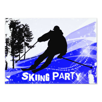 Downhill on the Ski Slopes Skiing Party Card