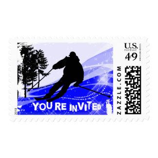Downhill on the Ski Slopes  You're Invited Postage