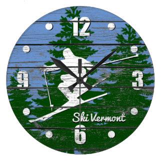 Downhill Ski Personalize Large Clock