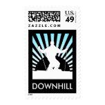 downhill ski postage stamp