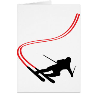 downhill ski skiing red track greeting card