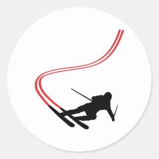 downhill ski skiing red track classic round sticker