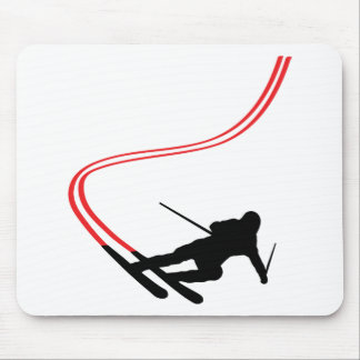 downhill ski skiing red track mouse pad