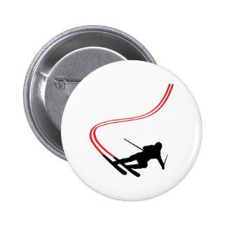 downhill ski skiing red track pins