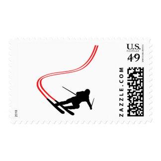 downhill ski skiing red track postage