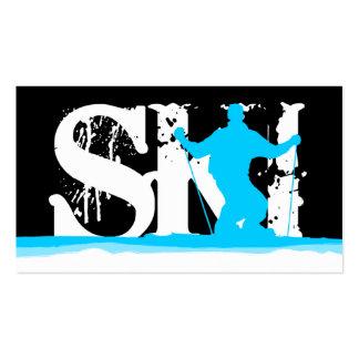 downhill ski stripes business card template