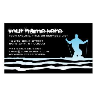 downhill ski stripes business card templates