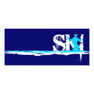 downhill ski stripes 4x9.25 paper invitation card