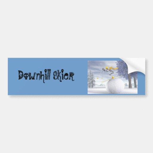 Downhill skier bumper sticker