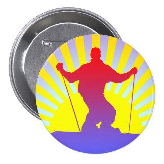 downhill skier button