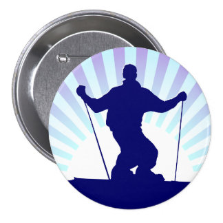 downhill skier button