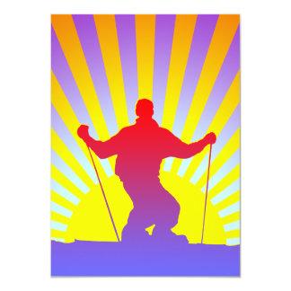 downhill skier 4.5x6.25 paper invitation card