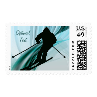 Downhill Skier on Icy Ribbons - Customizable Postage