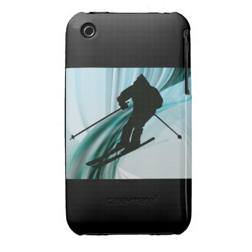 Downhill Skier on Icy Ribbons iPhone 3 Case