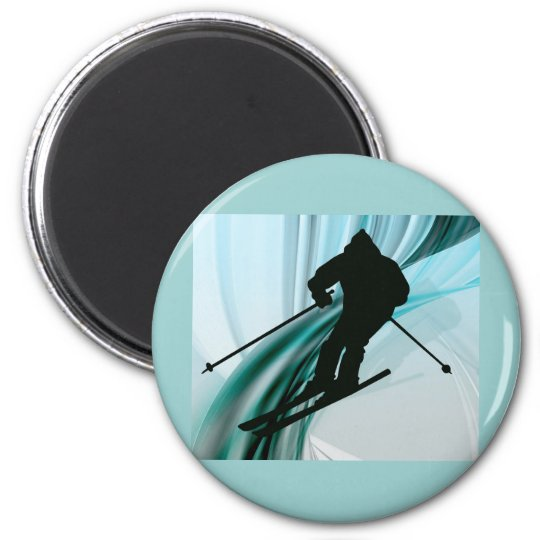 Downhill Skier on Icy Ribbons Magnet