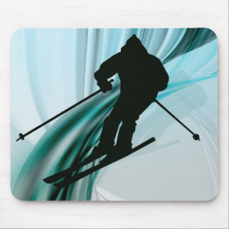 Downhill Skier on Icy Ribbons Mouse Pad