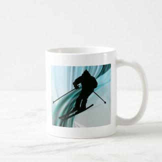 Downhill Skier on Icy Ribbons Coffee Mug