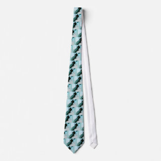 Downhill Skier on Icy Ribbons Neck Tie
