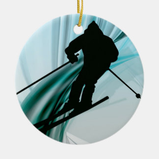 Downhill Skier on Icy Ribbons Christmas Tree Ornament