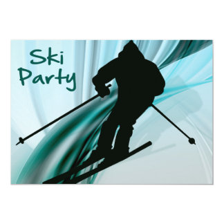 Downhill Skier on Icy Ribbons Party Card