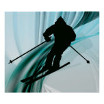 Downhill Skier on Icy Ribbons Poster