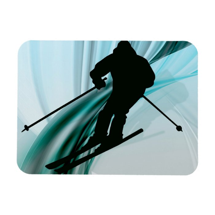 Downhill Skier on Icy Ribbons Rectangular Photo Magnet